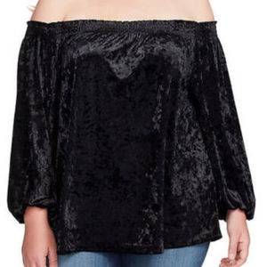 Jessica Simpson Black Velvet blouse Top 3X